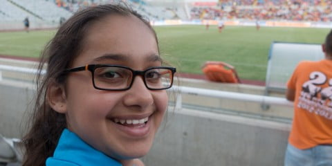 Paress attends her first live soccer match